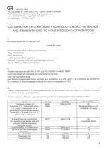 PVC Nutrix hose - declaration of conformity