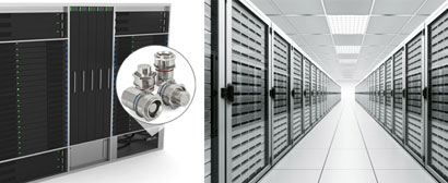 Data server producer use modular no-spill coupling for cooling