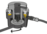 Bolt tensioning. The nut is wound down against the joint force.