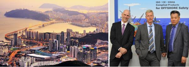 Busan, Corée. John Woollett, directeur de production chez CEJN Suède. Roy Eriksson, chef de département chez CEJN Suède. Kim Jin-Baek, directeur général chez CEJN Corée.