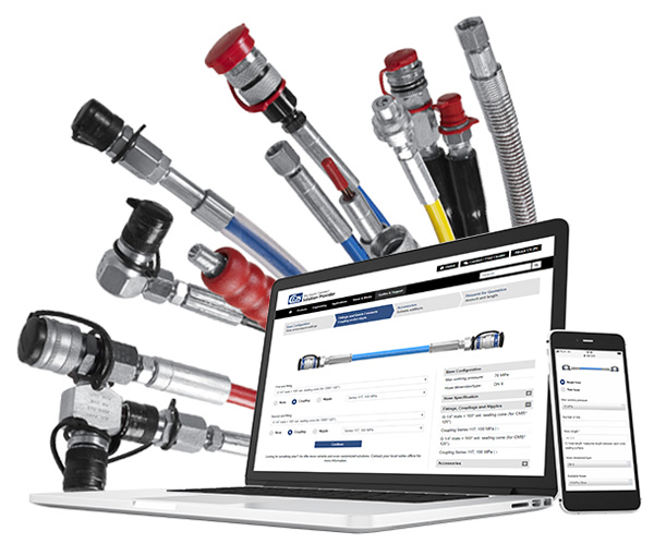 Hose configurator for ultra high-pressure hose kits with end connections, quick couplings and nipples